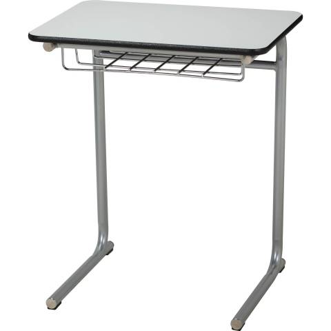 Cantilever Desk with wire basket