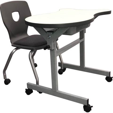 6706 Flip-Down Nesting Table with casters and Silhoflex Mobile chair